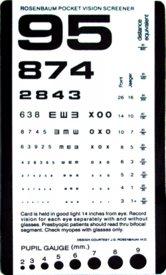Chart Eye Pocket Size 14in Test Plastic 6 3 8 X 3 5in Medical
